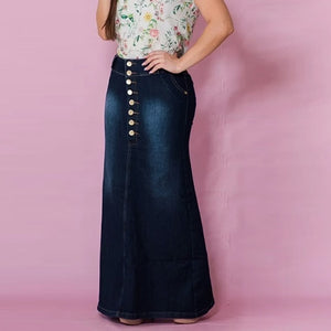 Women's Casual Front Button Washed Denim A-line Skirts Long Jean Skirt Skirts Womens Jupe Femme Faldas Mujer Moda Maxi Skirt
