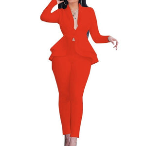 New Women Winter Women's Set Tracksuit Full Sleeve Ruffles Blazers Pencil Pants Suit Two Piece Set Office Lady Outfits Uniform