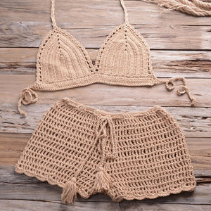 Sexy Crochet Bikini Two Pieces Set Halter Bra Tie Top Knitted Shorts Biquini Summer Beach Swimwear Hollow Swimsuit Bathing Suit