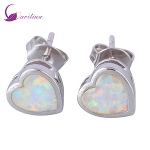 Ocean Melody 925 Sterling Silver Color Overlay White Fire Opal earrings Stud earrings for woman fashion jewelry E397