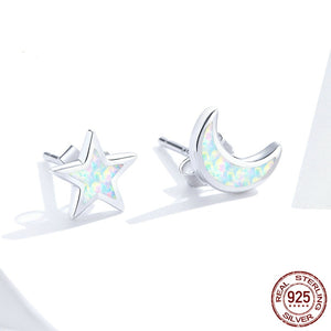 Open Moon and Star Stud Earrings for Women 100% Real 925 Sterling Silver Wedding Engagement Statement Jewelry