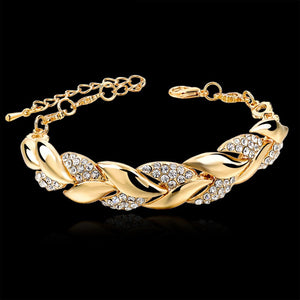 Bohemian Style Women Girls Gold Bracelet  Rhinestone Leaves Chain Bangle Luxury Wedding Jewelry Simple Fashion Elegant New
