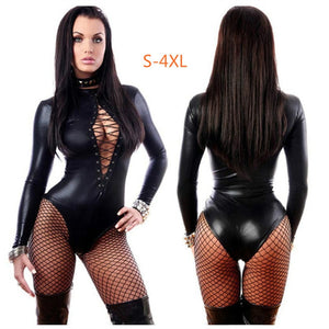 Erotic Sexy Latex Bondage Bodysuit  Sexi  Teddy Lingerie Women Breast Exposing Jumpsuit  Clothes Leather Catsuit Dress for Sex