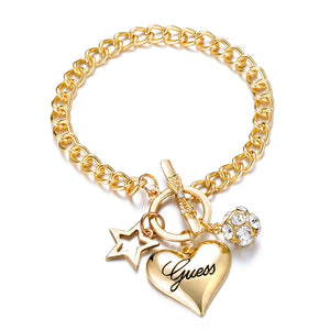 2020 Fashion Bow Cuff Crystal Rhinestone Gold Heart Bracelet Bangle For Women Lovers Party Jewelry Start Mujer Pulseras  Gifts