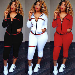 2020 Autumn Women's Sportswear 2pcs Women's Hooded Long Sleeve Zip Crop Tops Long Pants Trousers Loose Casual Clothes Set