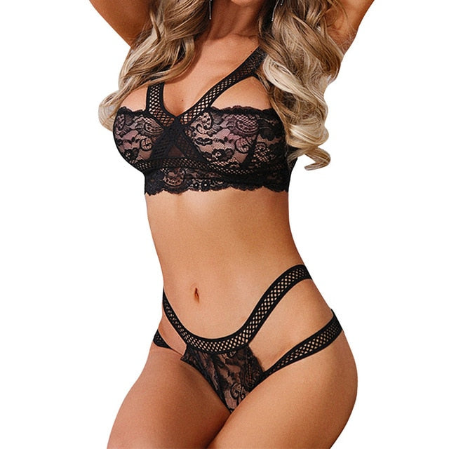 Women's Lace Sexy Lingerie Set Nightwear Underwear G-string Thong Babydoll Sleepwear Dresses