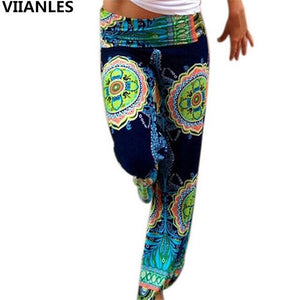 VIIANLES Bohemian Wide Leg Pants High Waist Trousers Beach Holiday Trouser Print Vintage Pants Women's Summer Casual
