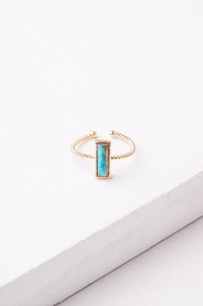 Mariska Turquoise Rectangular Ring
