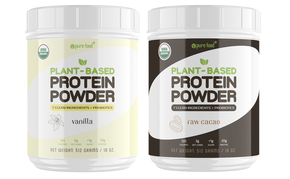 Pure Food Plant Based Protein Powder Bundle Pack: (1) RAW CACAO + (1) VANILLA