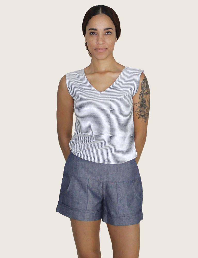 Chambray Ikat Shorts