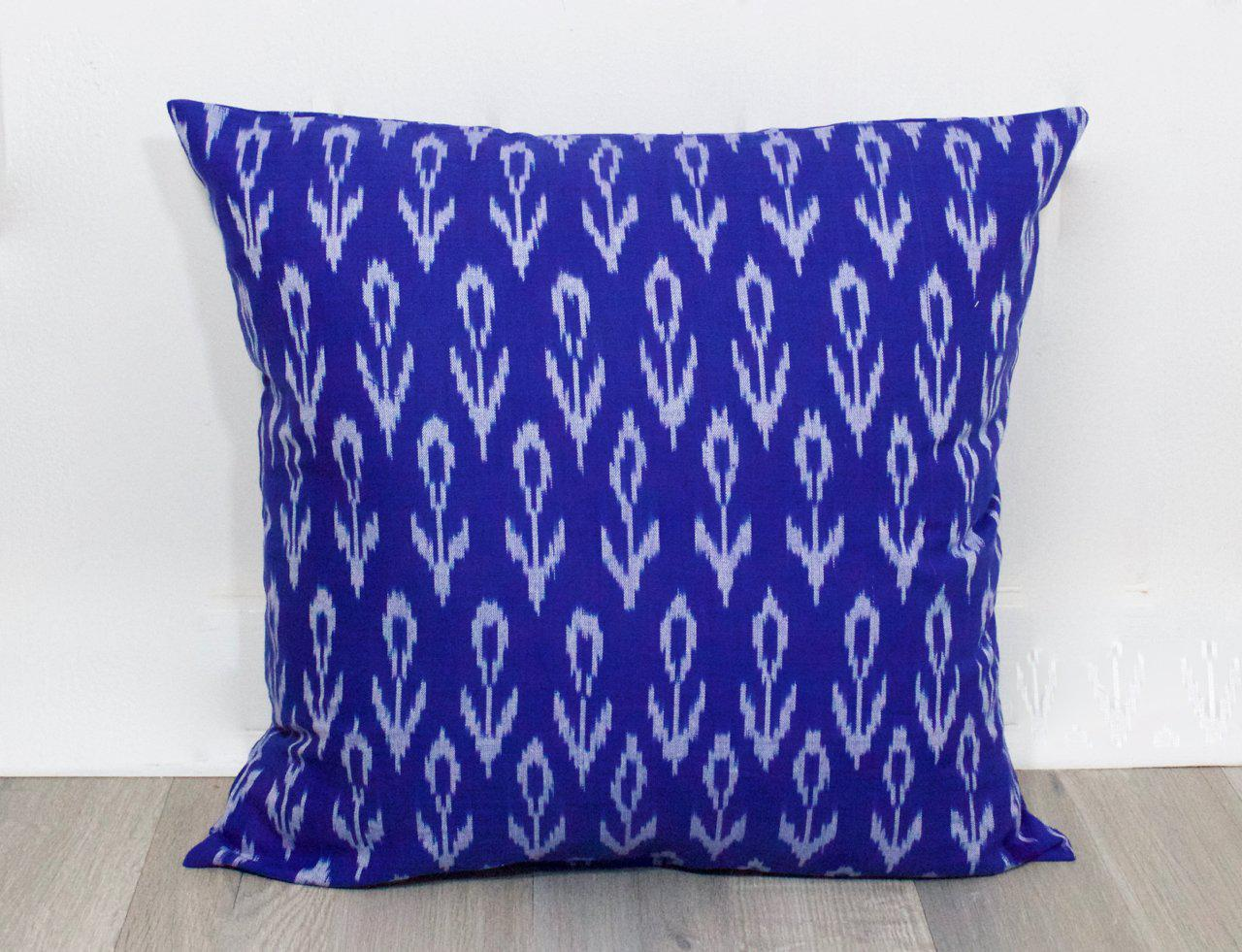 Cobalt Flower Ikat Throw Pillow Cover