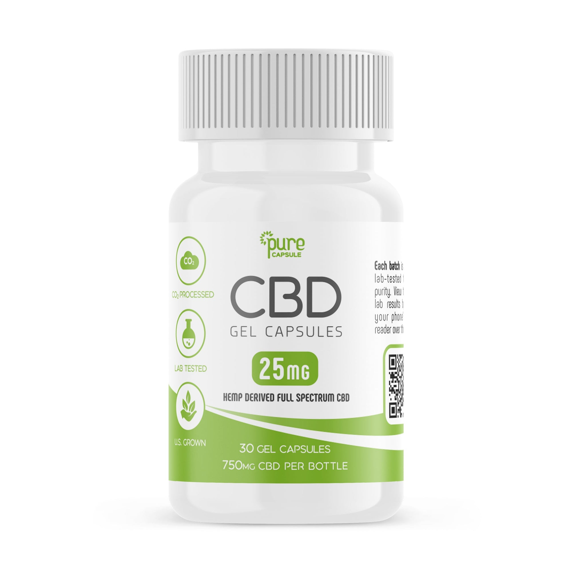 Full Spectrum CBD Oil Gel Capsules - 30 Capsules - 25 mg Per Capsule