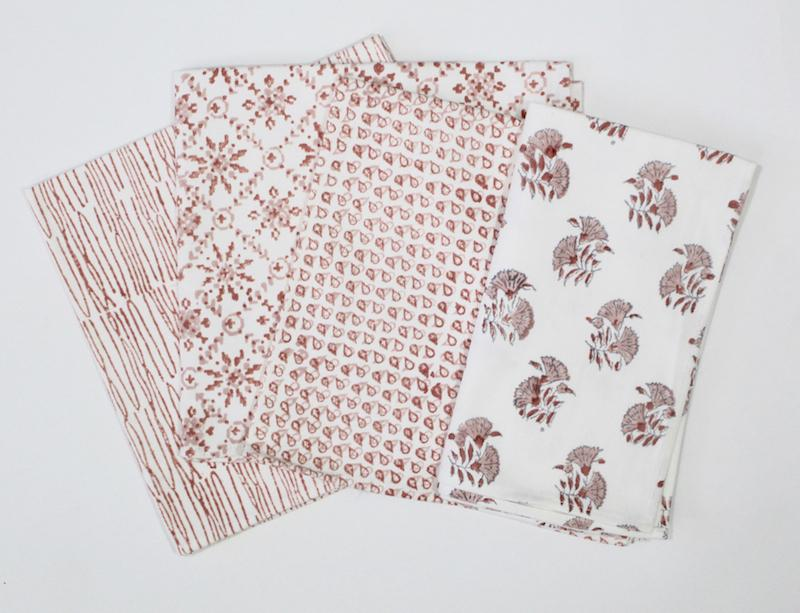 Geometric & Floral Cloth Napkins- Set of 4