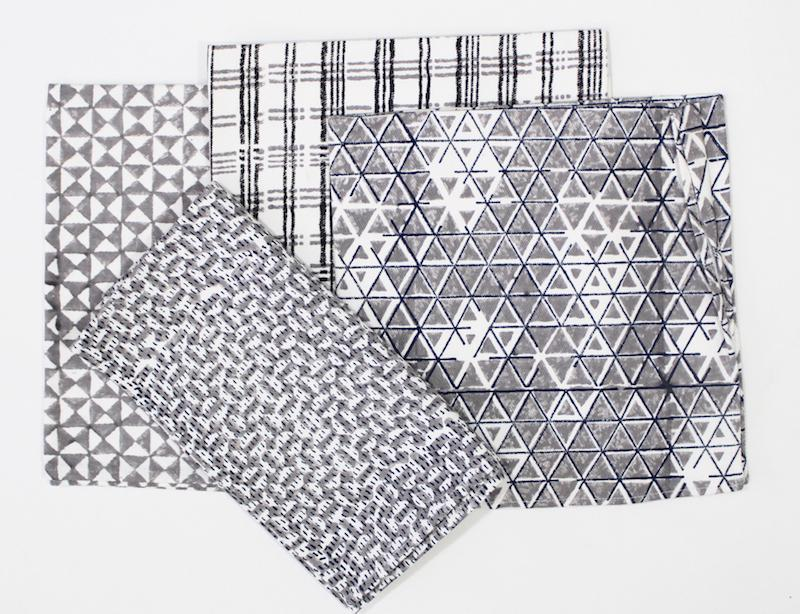 Geometric & Plaid Cloth Napkins- Set of 4