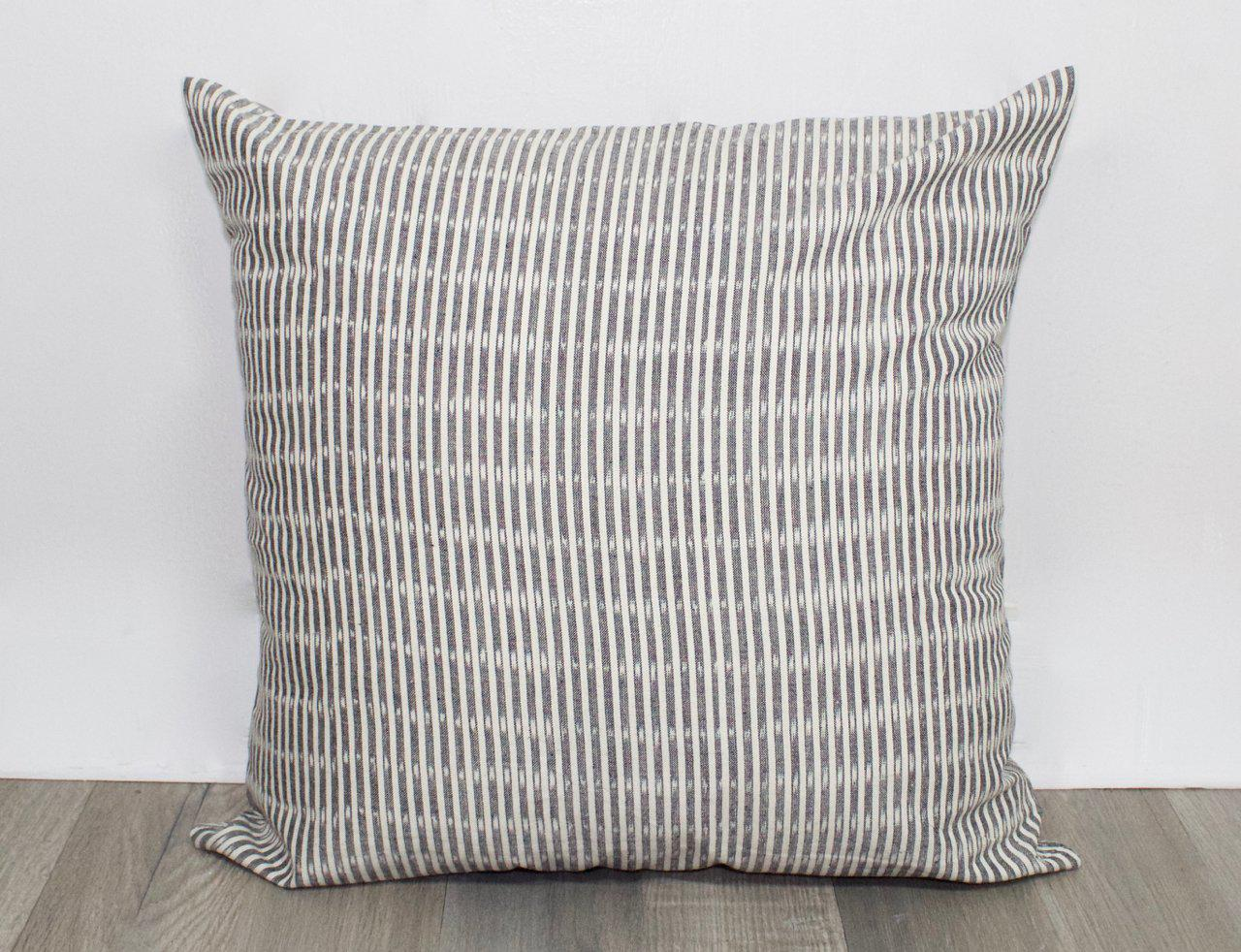Grey Striped Throw Pillow Cover
