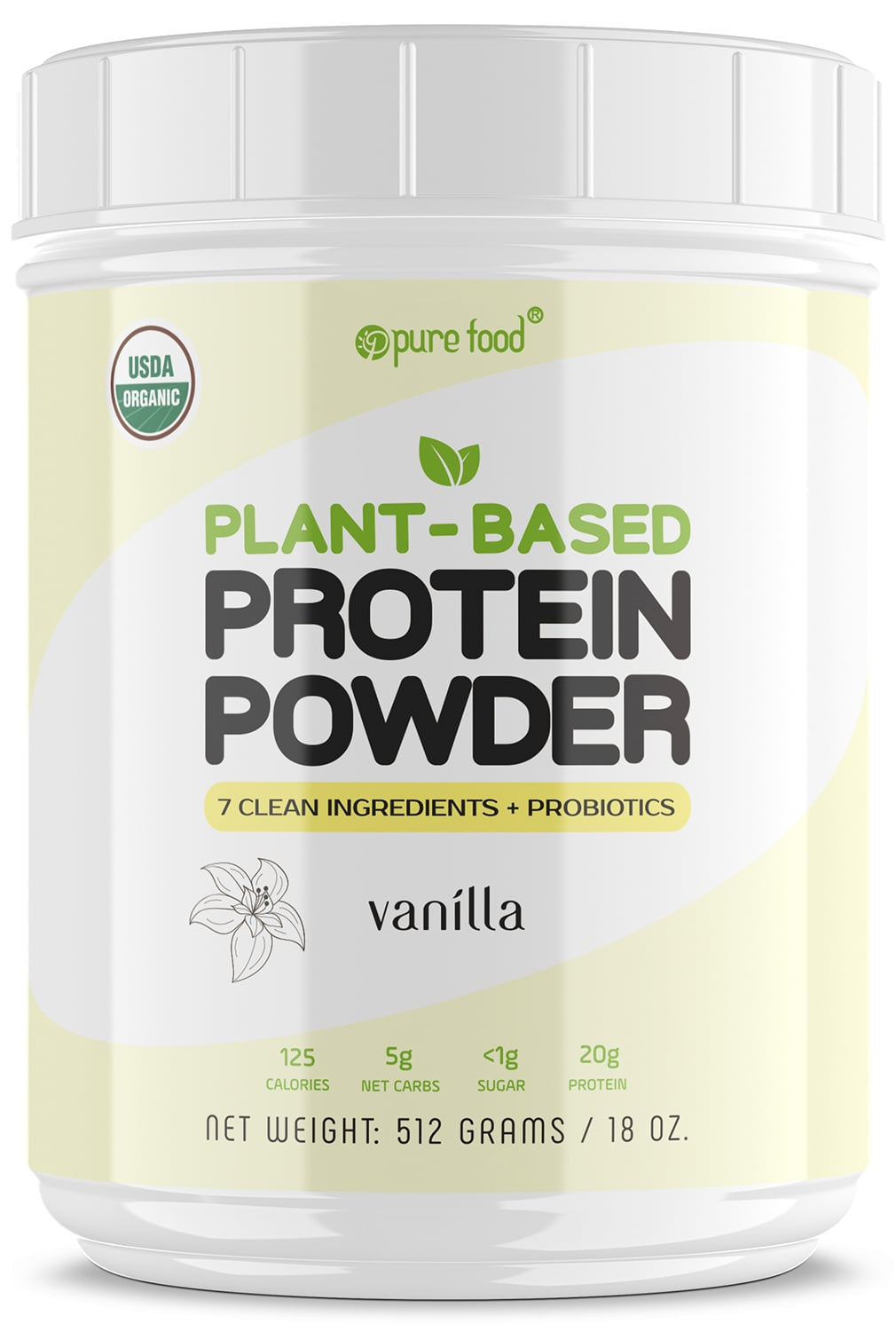 Pure Food Plant Based Protein Powder: VANILLA - 512g Tub