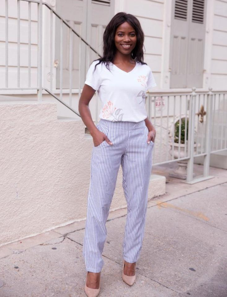 Pinstripe Pencil Pants