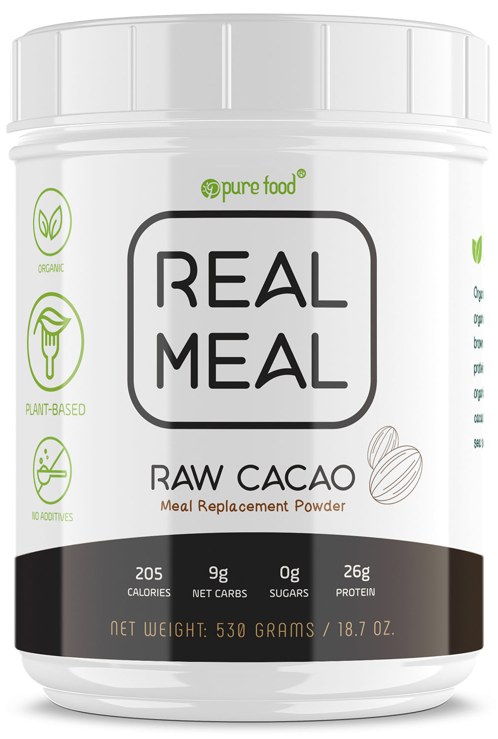 Pure Food REAL MEAL Replacement Powder: CHOCOLATE