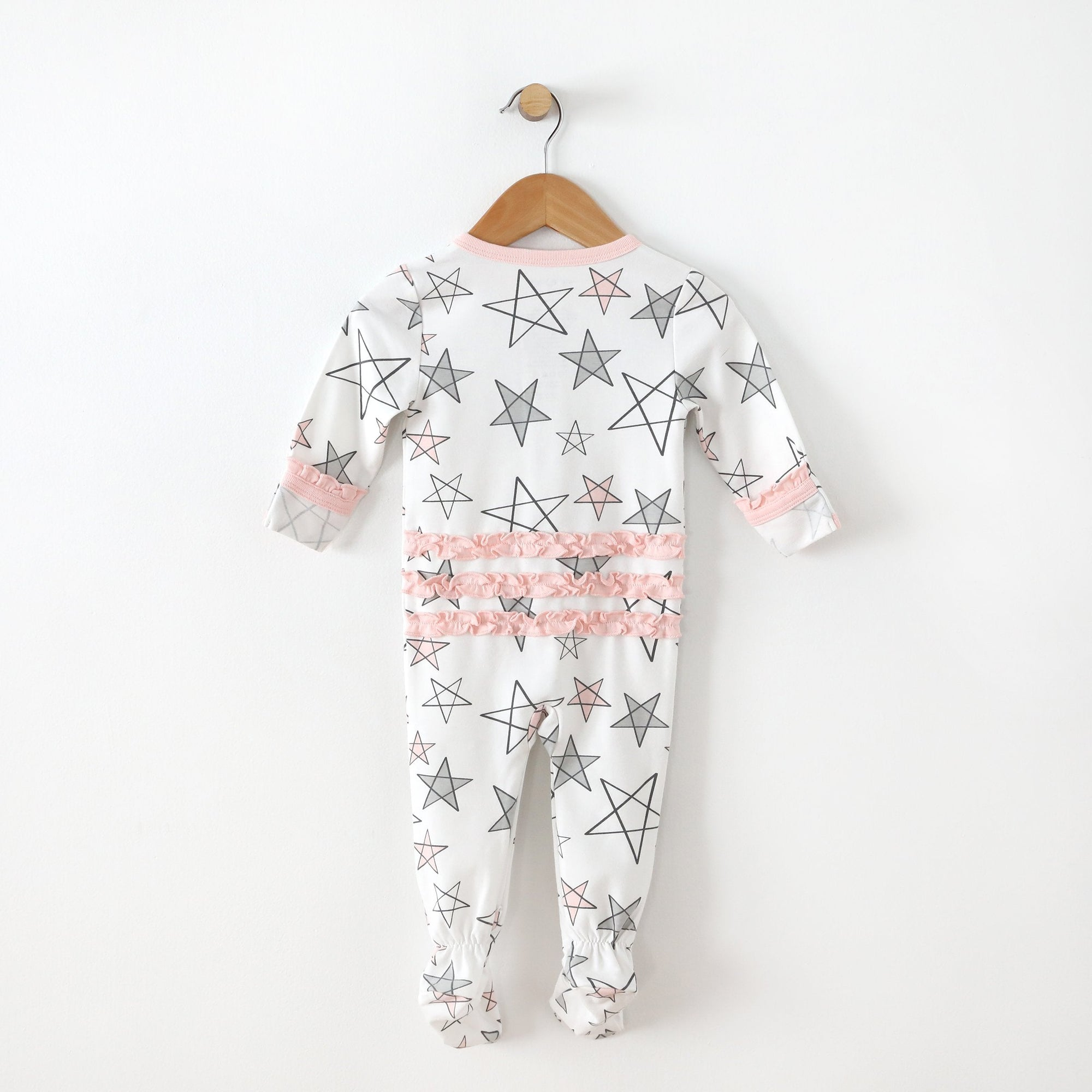 Pink Star Footie with Ruffle