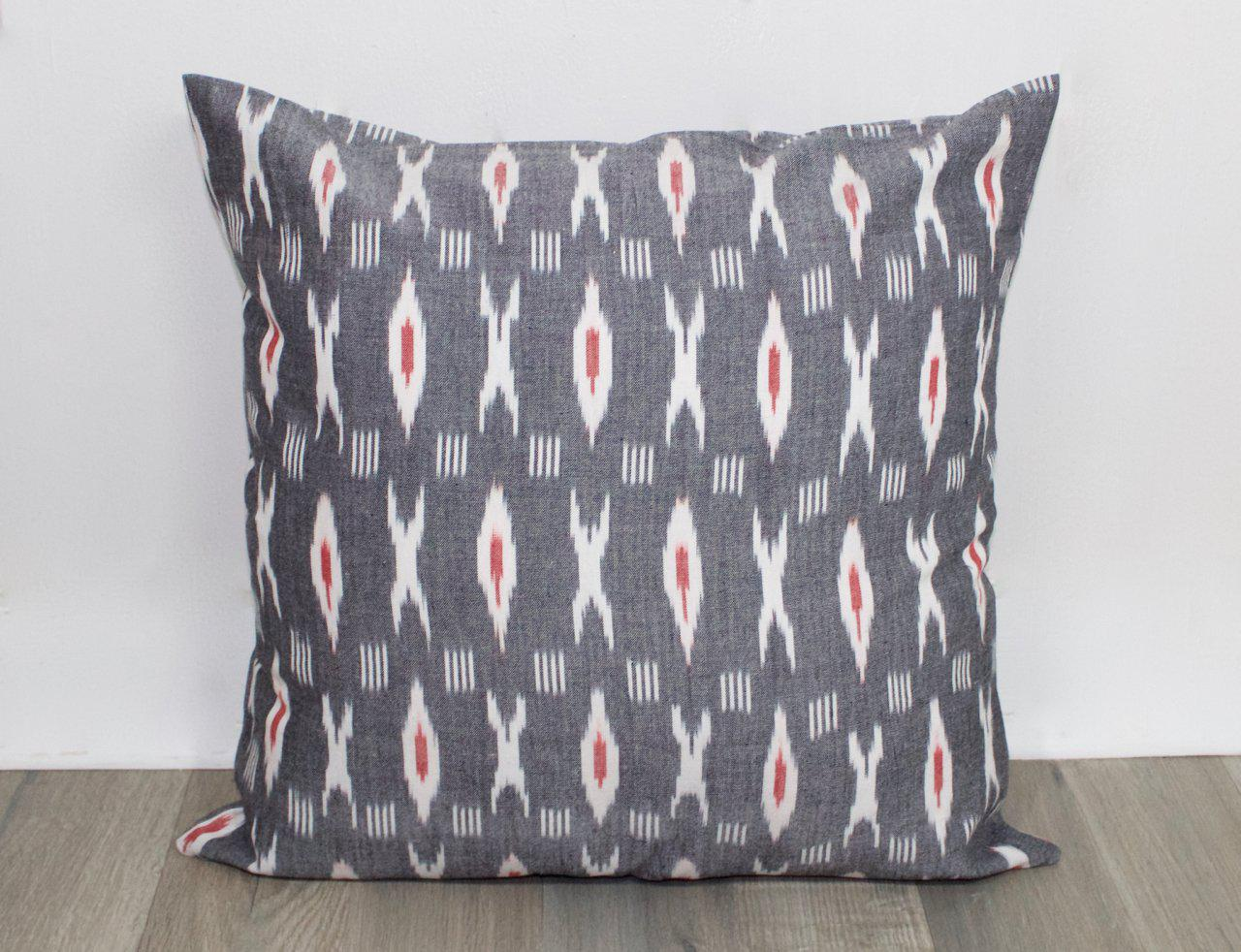 XO Grey & Red Throw Pillow Cover