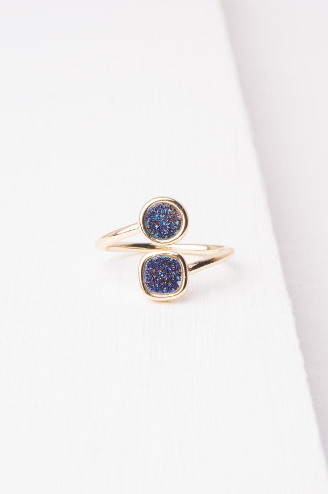 Deirdre Navy Druzy & Gold Wrap Ring