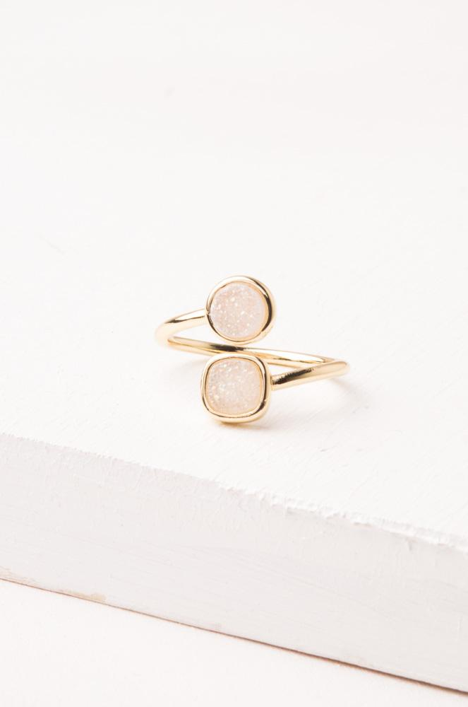 Deirdre White Druzy & Gold Wrap Ring