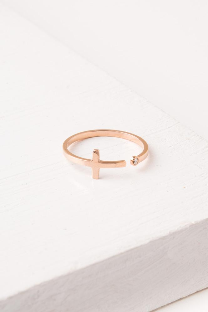 Magdalene Rose Gold Cross Ring
