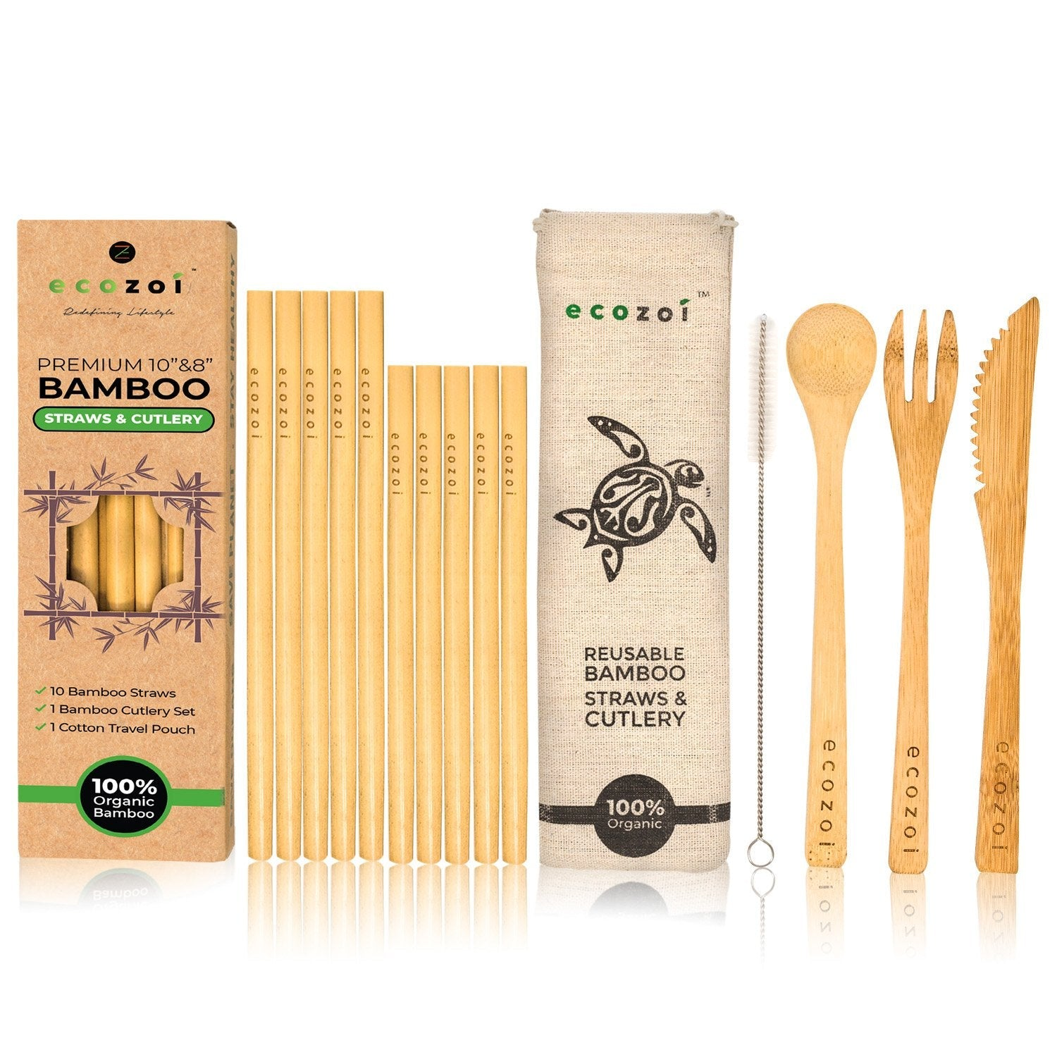 Organic Bamboo Straws and Bamboo Cutlery Utensils Set with BONUS Travel bag