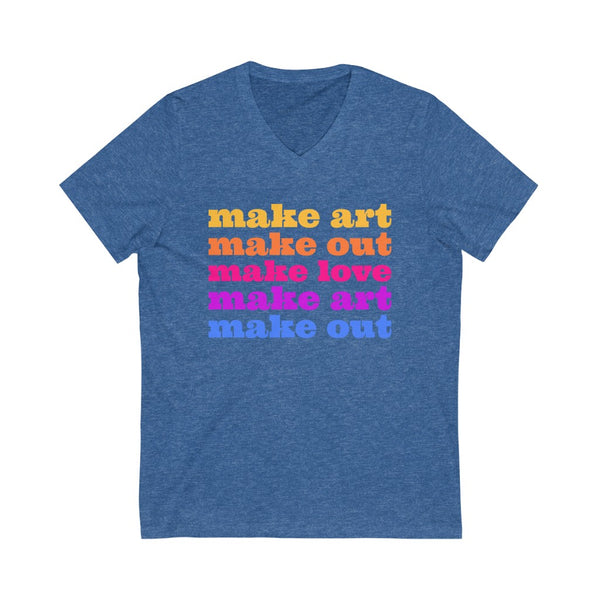 Make Art Make Love Men's V-Neck T-Shirt