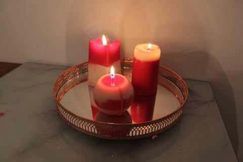 Trio of Candles on Mirrored Candle Tray
