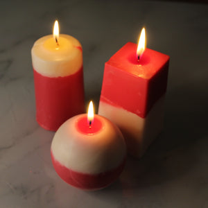 Trio of Two Tone Pillar Candles
