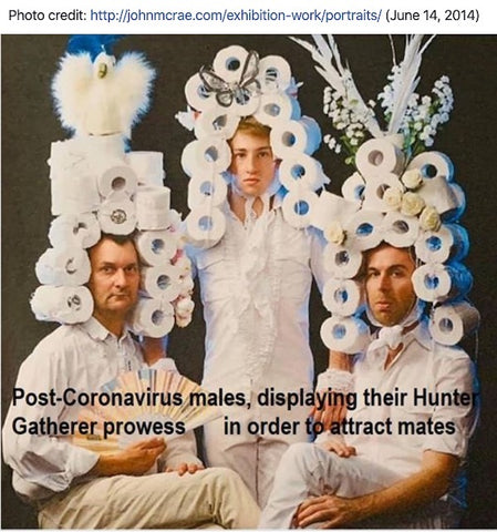 """3 men posing in elaborate powdered toilet paper wigs. The caption reads, """"Post-coronavirus males, displaying their hunter-gatherer prowess in order to attract mates."""""""