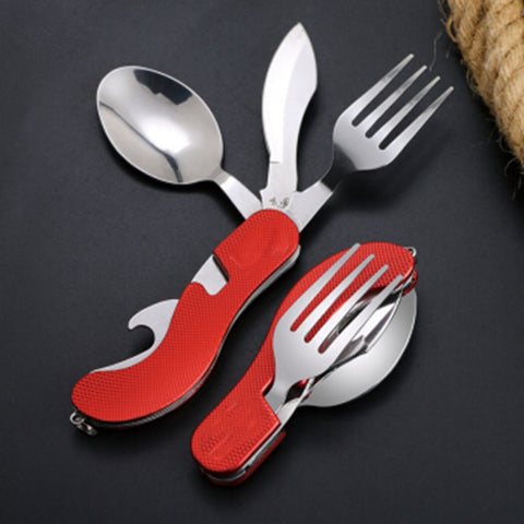 4 in 1 Fork Spoon Knife and Bottle Opener Folding Pocket Kit