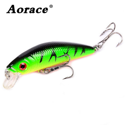 Aorace Minnow Fishing Lure 70mm 8g 3D Eyes Crankbait wobbler Artificial Plastic Hard Bait Fishing Tackle