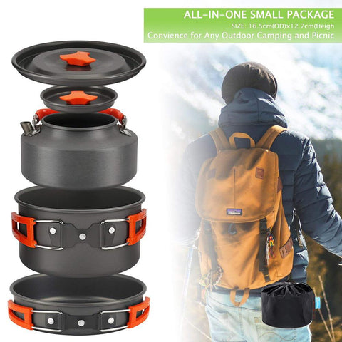 5 Pcs Compact Cookware for Hiking and Camping. Kettle  Pot and Pan.