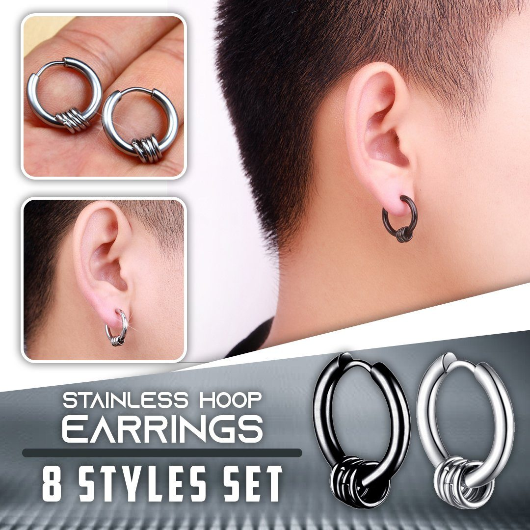 Stainless Hoop Earrings 8 Styles Set