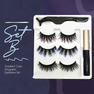 Gradient Color Magnetic Eyelashes Set (3 Colors/Set With Magnetic Eyeliner)