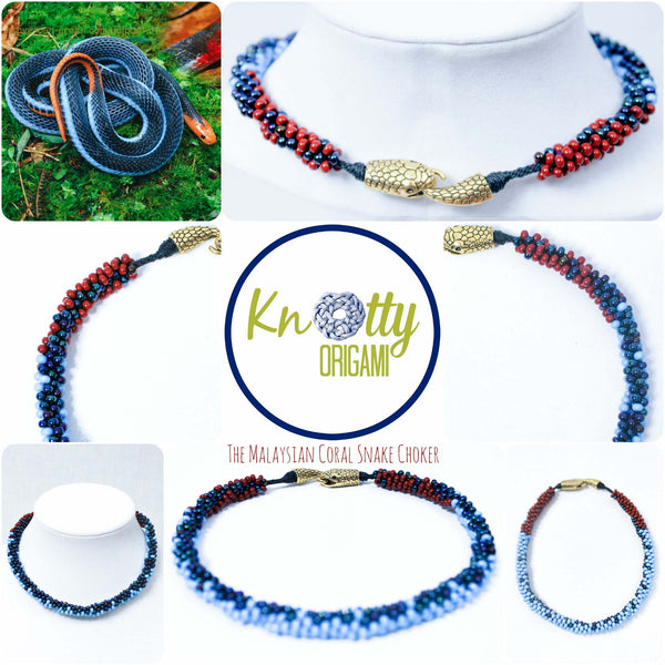 Malaysian Coral Snake Choker By Knotty Origami