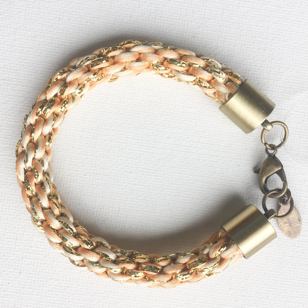 Peach & Gold Round Braided Bracelet