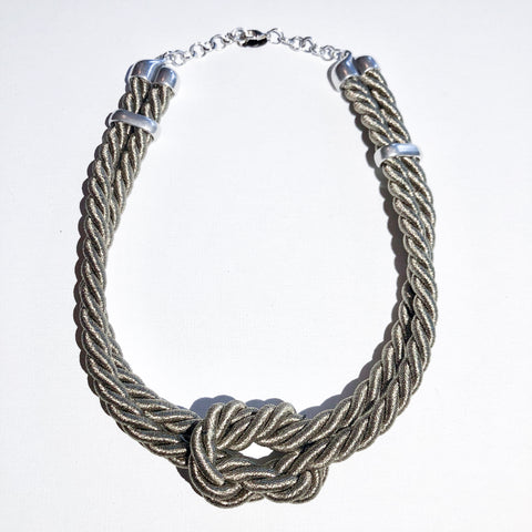Double Square Knot Necklace w/Silver Slider