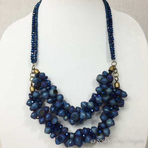 Cobalt Blue Druzy Agate And Glass Necklace