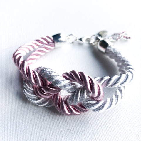 Breast Cancer Awareness Duo-Tone Knot Bracelet