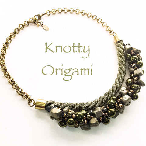 Beaded & Braided Pyrite Olive Metallic Double Strand Necklace
