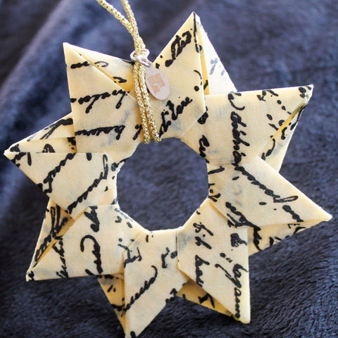 Modular Origami Star Ornament {Cream & Black Text}