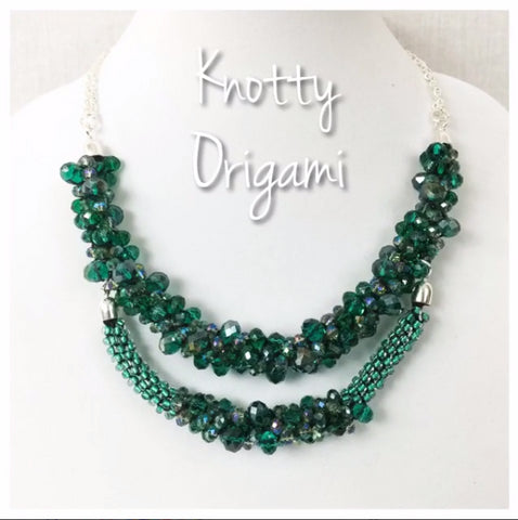 Emerald Double Beaded & Braided Necklace