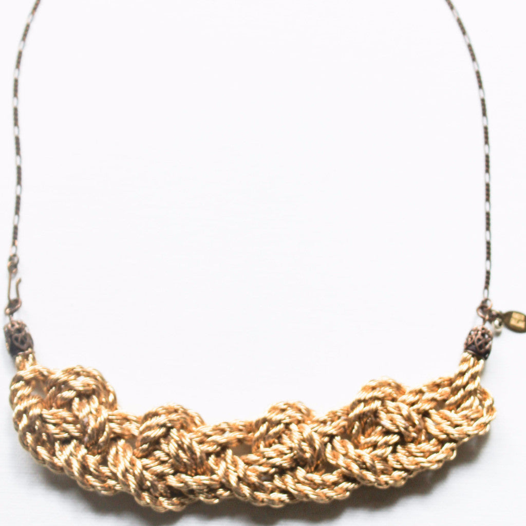 Brass And Gold Chain Knot Necklace
