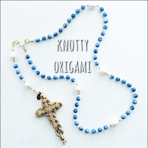 Blue Shell & Freshwater Rice Pearl Rosary