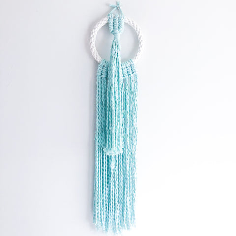 Mint Blue Hoop Macrame Hanging