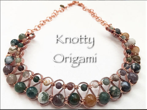 Wired Copper & Serpentine Jasper Necklace