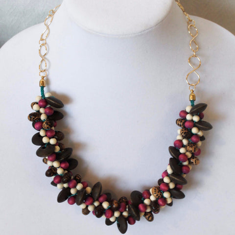 Braided Fuchsia Wooden Necklace